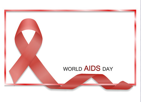 Red ribbon with border and text vector. World AIDS day. Realistic red ribbon with frame isolated. Vector illustration. Illustration