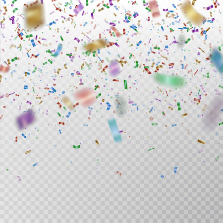 Color glitter confetti vector. Carnaval paper tinsel texture isolated on background. Party confetti with defocused pieces effect. Falling glitter particles decoration. New year and Xmas illustration.