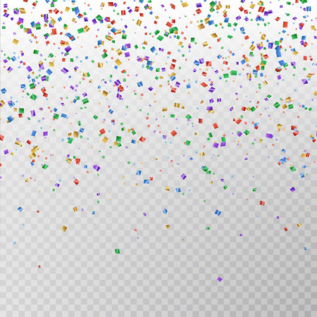 Color glitter confetti vector. Carnaval paper tinsel texture isolated on background. Party colorful confetti effect. Falling glitter particles decoration. New year and Xmas illustration.