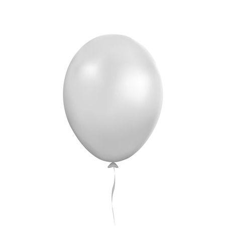 White balloon vector. Party baloon with ribbon and shadov isolated on white background. Flying 3d ballon template. Birthday decoration symbol. Vector illustration.