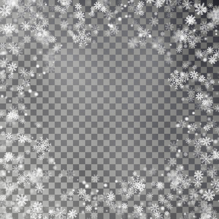 Snowflake border vector isolated on transparent background. Christmas falling snow frame. Winter xmas magic snow flake, frame decoration. Vector illustration.