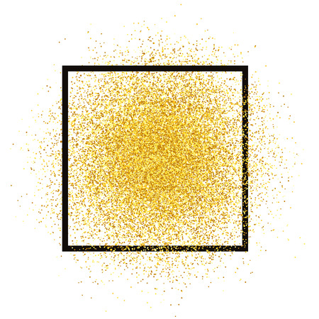 Gold glitter spray with frame. Golden sparkles vector isolated on background. Star dust texture, light effect. Glowing vector illustration.