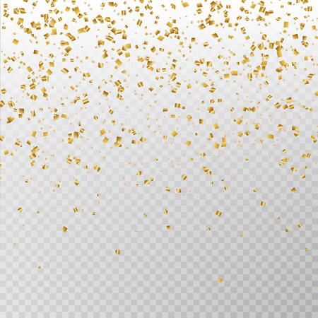 Golden glitter confetti vector. Carnaval paper tinsel texture isolated on background. Party confetti effect. Falling glitter particles decoration. New year and Xmas illustration.