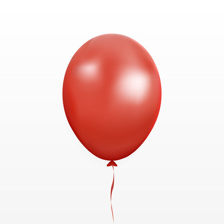 Red balloon vector. Party baloon with ribbon and shadov isolated on white background. Flying 3d ballon template. Birthday decoration symbol. Vector illustration.