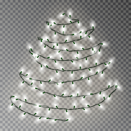 Christmas tree of white lights string. Transparent effect decoration isolated on dark background. Realistic Christmas garland vector. Glowing Winter Xmas tree lights string, banner illustration. Illustration