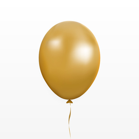 Gold balloon vector. Party baloon with ribbon and shadov isolated on white background. Flying 3d ballon template. Birthday decoration symbol. Vector illustration. Vettoriali