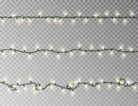 Christmas lights string seamless vector. Transparent white effect decoration isolated. Realistic Christmas garland pattern. Winter xmas lights string. Vector banner illustration. Vettoriali