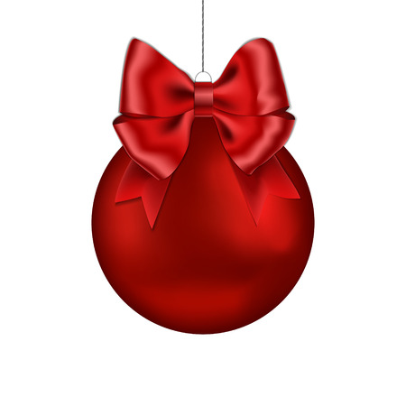Christmas red ball with ribbon bow handing on string. Xmas vector bauble isolated on white background. New Year bow decoration element. Vector illustration.