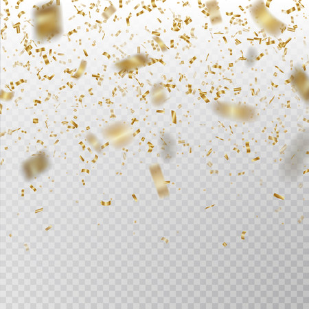 Golden glitter confetti vector. Carnaval paper tinsel texture isolated on background. Party confetti with defocused pieces effect. Falling glitter particles decoration. New year and Xmas illustration. Vettoriali
