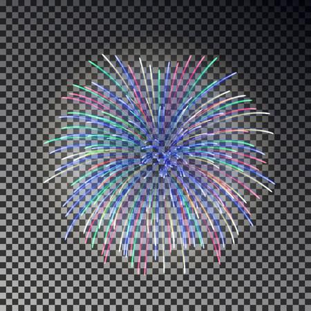 Festive fireworks. Christmas firecracker light effect isolated on dark background. Firework decoration for New Year, Party, Birthday. Diwali fire cracker salute. Vector illustration.