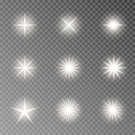 Flash light camera effect vector. Twinkle sparkle isolated on transparent background. Glare lens collection. Flare light decoration elements. Vector illustration. 版權商用圖片 - 115907364
