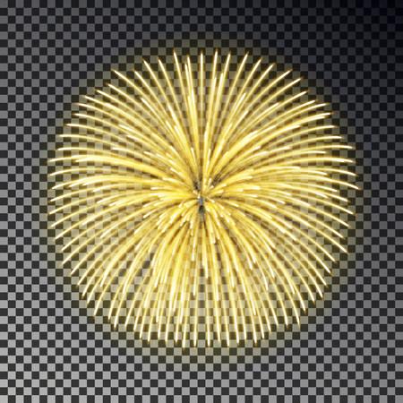 Festive golden fireworks. Christmas firecracker light effect isolated on dark background. Firework decoration for New Year, Party, Birthday. Diwali fire cracker salute. Vector illustration.
