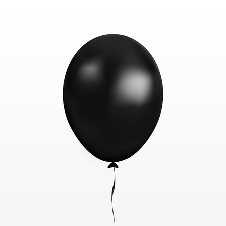 Black balloon vector. Party baloon with ribbon and shadow isolated on white background. Flying 3d ballon template. Birthday decoration symbol. Vector illustration. 版權商用圖片 - 112759587