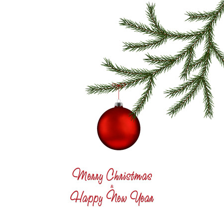 Christmas fir tree branch and red bauble. Xmas ball with decoration. Vector holiday illustration. Standard-Bild - 127256446