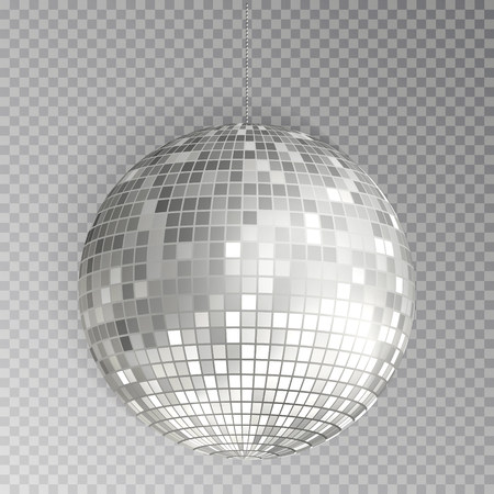 Glitter disco ball vector. Silver mirrorball isolated. Discoball shine light effect. Night club decoration. Vector illustration. 版權商用圖片 - 115907365