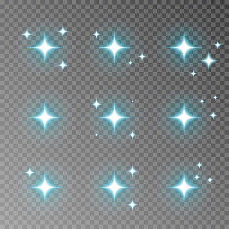 Blue twinkle sparkle vector isolated on transparent background. Flash light camera effect. Glare lens collection. Flare light decoration elements. Vector illustration. 版權商用圖片 - 115907366