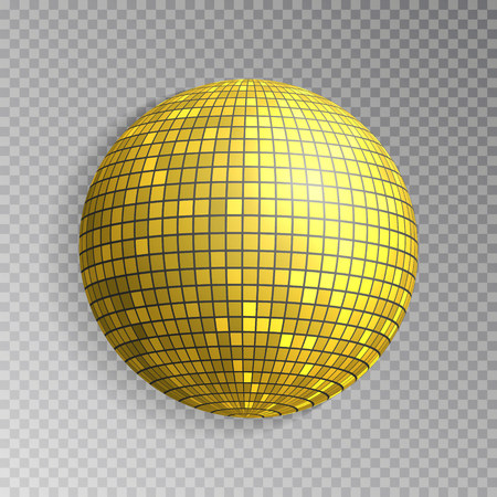 Glitter disco ball vector. Golden mirrorball isolated. Discoball shine light effect. Night club decoration. Vector illustration.