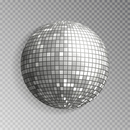Glitter disco ball vector. Silver mirrorball isolated. Discoball shine light effect. Night club decoration. Vector illustration. Standard-Bild - 112880142