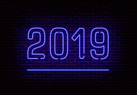 Happy 2019 New Year neon light vector. Retro transparent neon light effect isolated. Vector Illustration