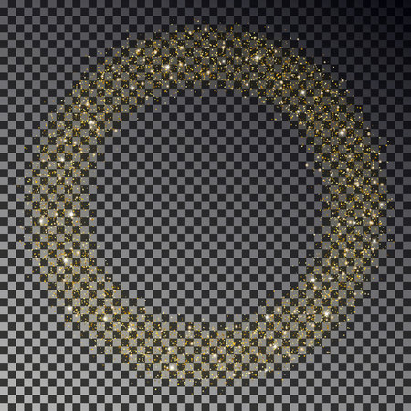 Circle of gold glitter sparkle vector. Star dust round, light effect. Bokeh background. Xmas stars wreath decoration. Stardust particles falling. Vector illustration.