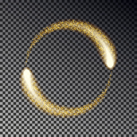 Gold sparkle circle vector. Glittering star dust lights effect. Twinkle round spark isolated. Sparkle circle in refresh style. Transparent magic ring. Vector illustration. 版權商用圖片 - 115907379