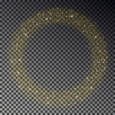 Circle of gold glitter sparkle vector. Star dust round, light effect. Bokeh background. Xmas stars wreath decoration. Stardust particles falling. Vector illustration. 版權商用圖片 - 115907381