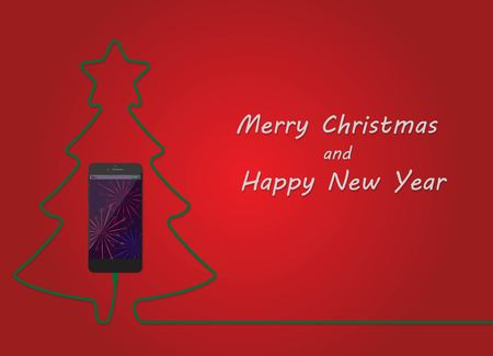 Christmas tree of charging mobile phone. Happy New Year energy cell phone card. Merry Xmas concept. Vector illustration. 版權商用圖片 - 115907382