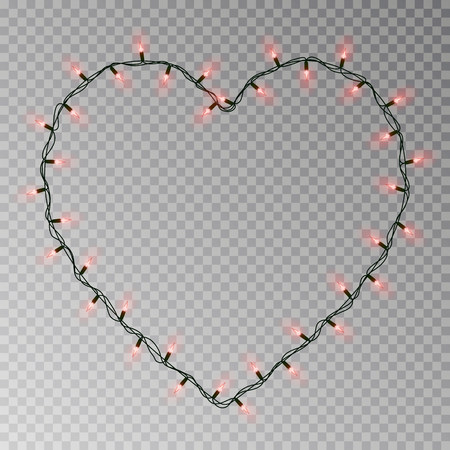 Christmas lights heart vector. Transparent light garland isolated on transparent background. Realistic light effect for Valentines day. Glowing Xmas lights string. Vector illustration. 版權商用圖片 - 115907383