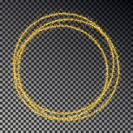 Golden glitter ring isolated on dark background. Shine gold circle of sparkle particles. Magic Christmas light circle effect, transparent. Vector illustration.