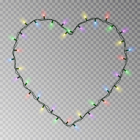 Christmas lights heart vector. Transparent light garland isolated on transparent background. Realistic light effect for Valentines day. Glowing Xmas lights string. Vector illustration. 版權商用圖片 - 115907386