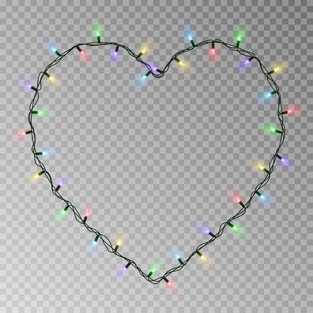 Christmas lights heart vector. Transparent light garland isolated on transparent background. Realistic light effect for Valentines day. Glowing Xmas lights string. Vector illustration. 版權商用圖片 - 115907388