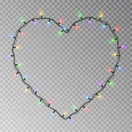 Christmas lights heart vector. Transparent light garland isolated on transparent background. Realistic light effect for Valentines day. Glowing Xmas lights string. Vector illustration. 版權商用圖片 - 115907389