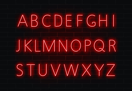 Neon font vector. Light alphabet text sign set. Glowing night font for bar, casino, party. Red wall alphabet, transparent light effect. Vector illustration.