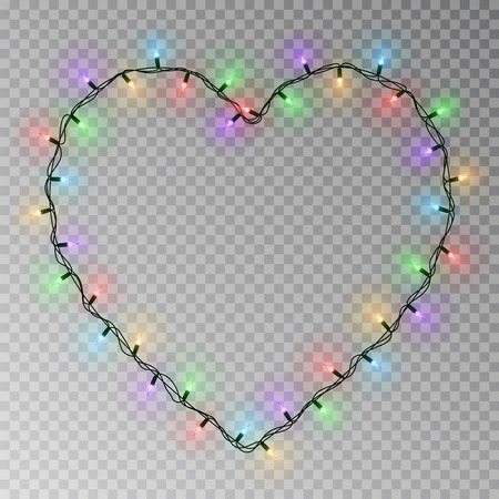 Christmas lights heart vector. Transparent light garland isolated on transparent background. Realistic light effect for Valentines day. Glowing Xmas lights string. Vector illustration.