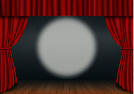 Red open curtain with wood floor and circus spotlight in theater. Velvet fabric cinema curtain vector. Opened curtains, spotlight decoration. Dark drama stage background. Vector illustration. 版權商用圖片 - 115907394