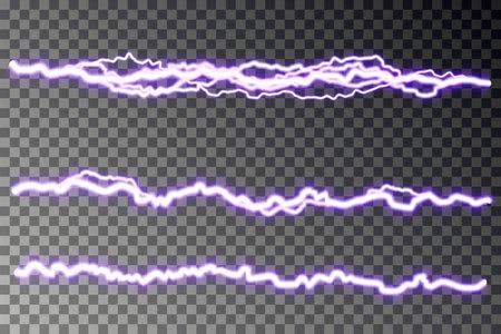 Lightning blast vector isolated on checkered background. Electric discharge. Thunderbolt or lightning visual transparent effect. Energy blast plasma, spark line. Vector illustration. 向量圖像