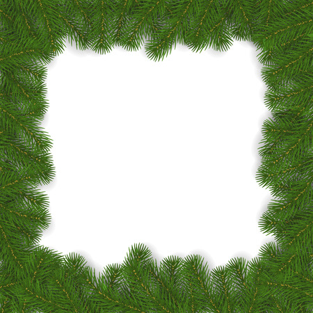 Christmas frame of pine branches vector. Xmas border isolated. Pine branch square decoration. New year frame design. Vector illustration. 版權商用圖片 - 115907396