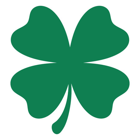 Green shamrock clover vector icon. St Patrick day symbol, leprechaun leaf sign.