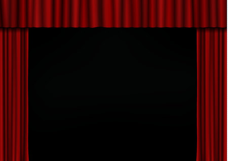 Red open curtain in theater. Velvet fabric cinema curtain vector. Opened curtains decoration. Dark drama stage background. Vector illustration. Vettoriali
