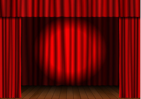 Red open curtain with spotlight and wood floor in theater. Velvet fabric cinema curtain vector. Opened curtains decoration. Dark drama stage background. Vector illustration.
