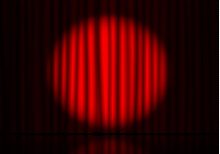 Red curtain with spotlight and floor reflection in theater. Velvet fabric cinema curtain vector. Spotlight on closed curtains decoration. Drama reflexion stage background. Vector illustration.