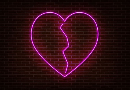 Neon crack heart sign vector isolated on brick wall. Light heart, shop decoration element. Neon love symbol.