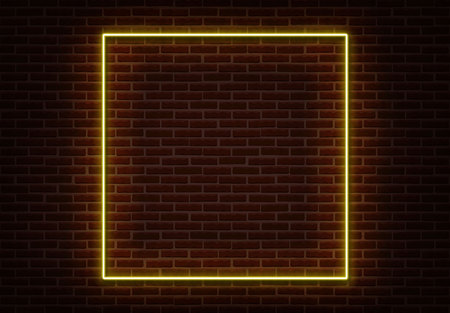 Neon Square frame sign vector isolated on brick wall. Light border night club decoration element. Neon frame illustration.