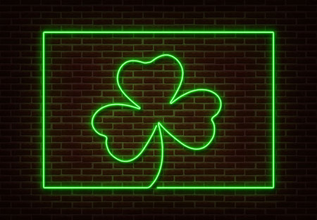 Neon green Shamrock with frame sign vector isolated on brick wall. Light Happy Patric shop decoration element. Neon luck symbol.