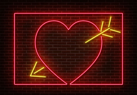 Neon heart with arrow sign vector isolated on brick wall. Light heart frame, shop decoration element. Neon love symbol. Vettoriali