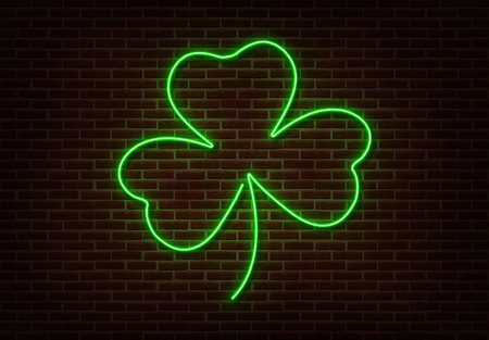 Neon green Shamrock sign vector isolated on brick wall. Light Happy Patric shop decoration element. Neon luck symbol.