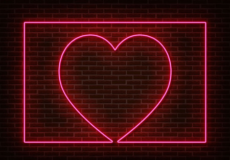 Neon heart sign with frame vector isolated on brick wall. Light heart, shop decoration element. Neon love symbol. Vettoriali