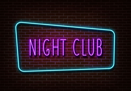 Neon night club sign vector. Light banner isolated on brick wall. Neon text light template for night bar, casino, hotel, shop. Light design. Vector illustration.