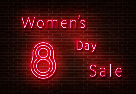 Neon Womens day sale sign vector. Shopping light isolated on brick wall. Neon light template for night bar, casino, hotel, shop, club. Light design. Vector illustration.