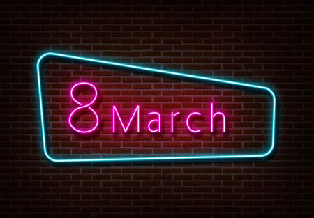 Neon 8 march sign vector. Women's day light isolated on brick wall. Neon light template for night bar, casino, hotel, shop, club. Light design. Vector illustration.